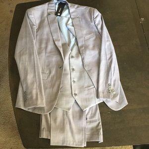 YFFUSHI Mens Light Grey M One-Button 3 Piece Suit